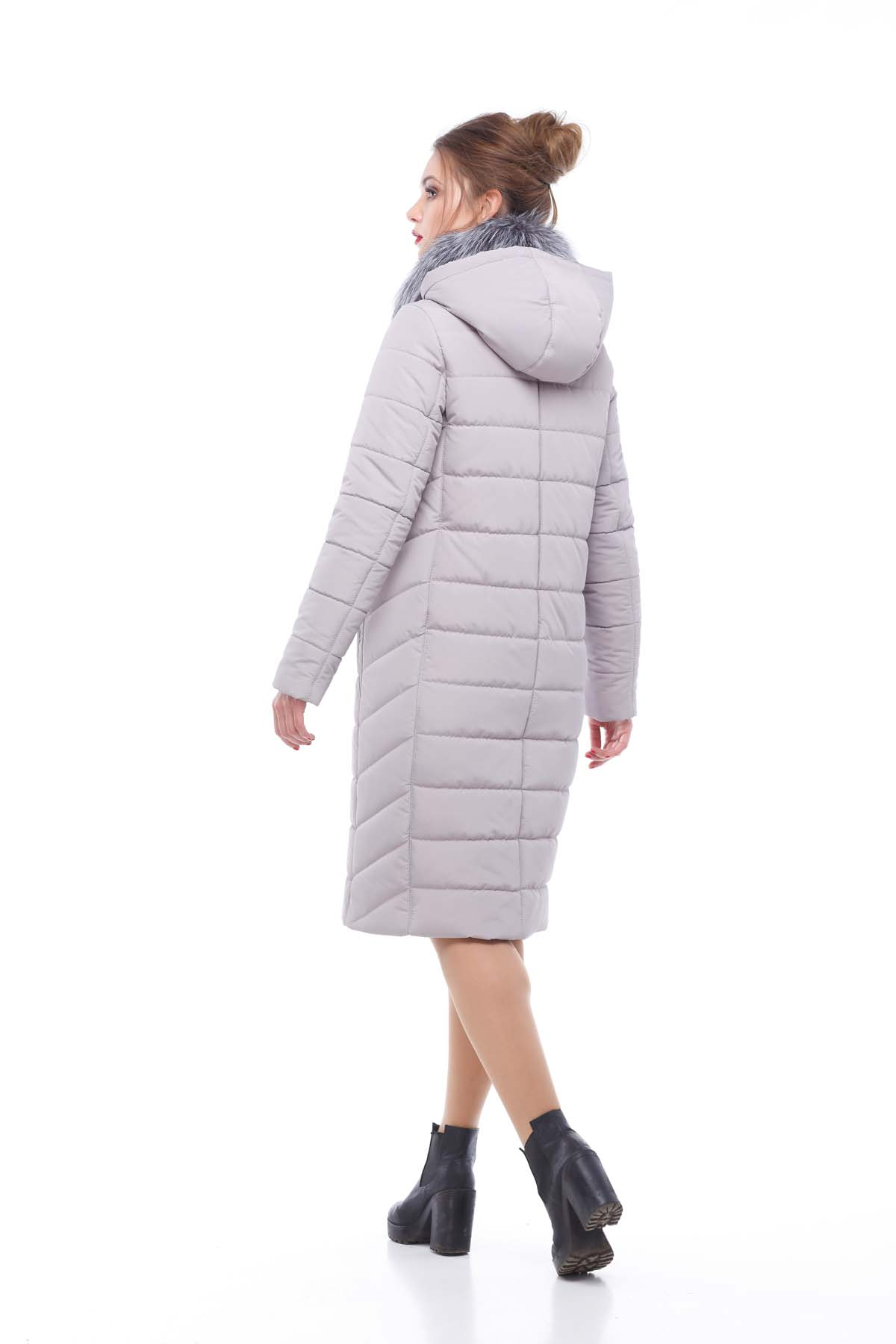 Зимове пальто стьогане Кім Зима, чорнобурка лаванда