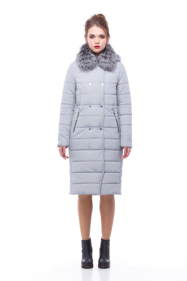 Зимнее пальто Ким чернобурка Зима светло-серый