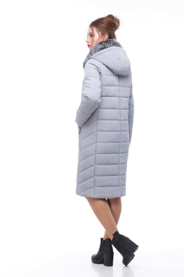 Зимове пальто стьогане Кім Зима, чорнобурка світло-сірий
