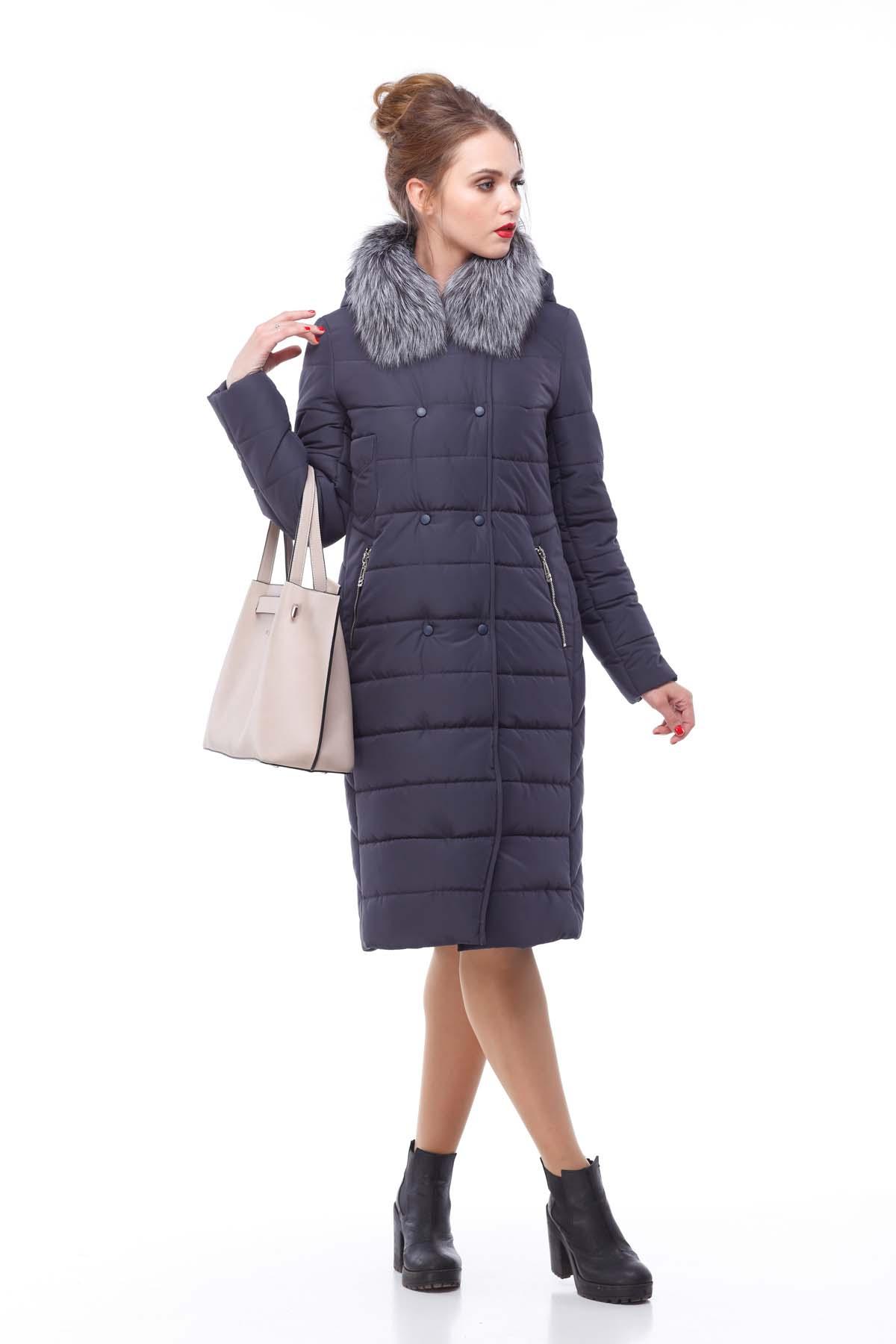 Зимове пальто стьогане Кім Зима, чорнобурка графіт