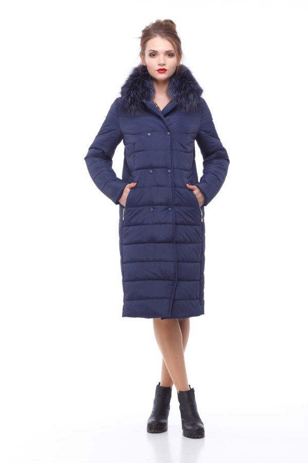 Зимнее пальто Ким чернобурка Зима темно-синий