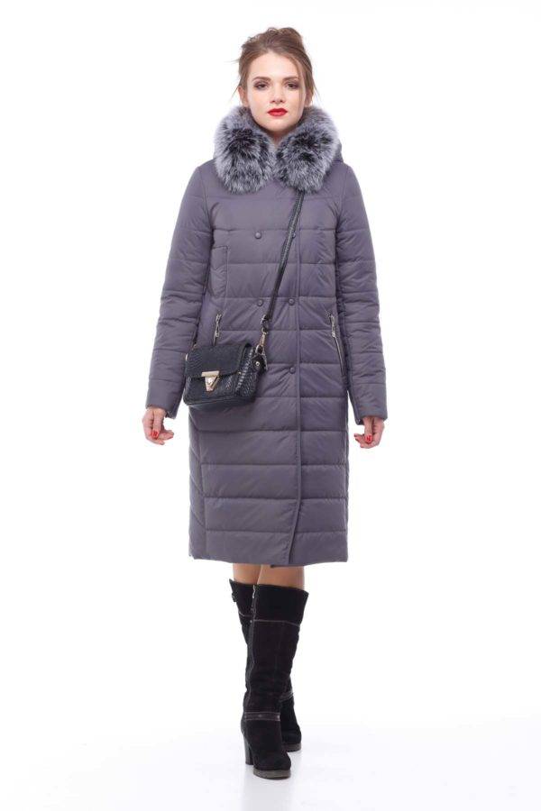 Зимове пальто стьогане Кім Зима, песець антрацит