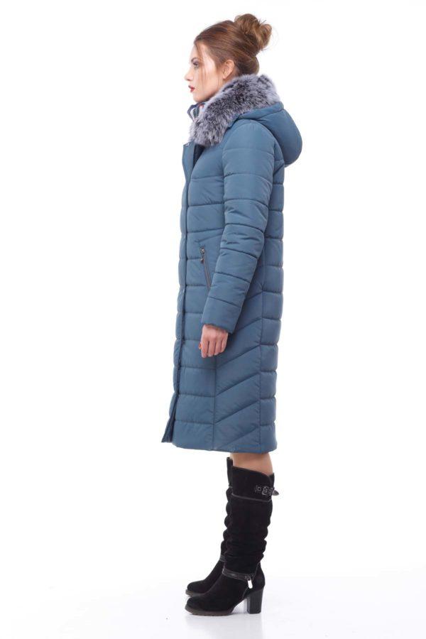 Зимнее пальто Ким песец серо-синий