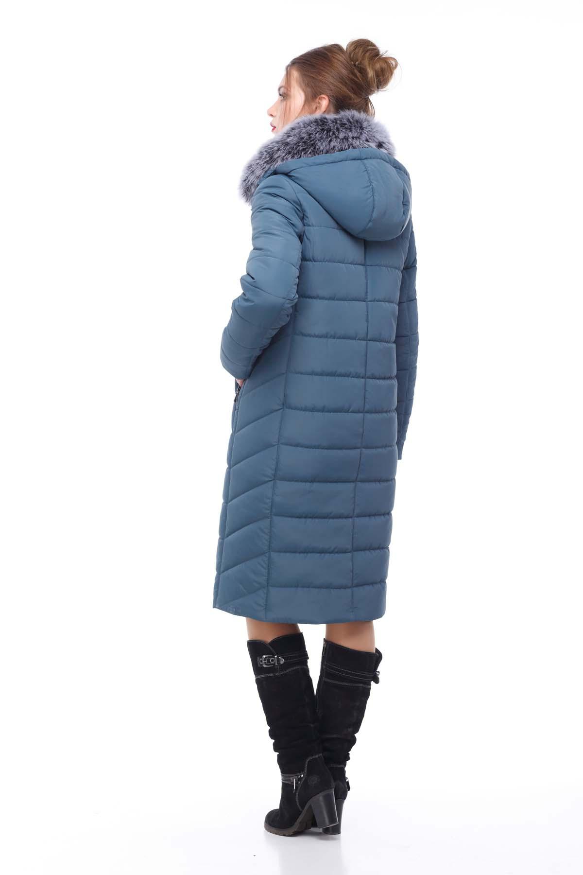 Зимове пальто стьогане Кім Зима, песець сіро-синій