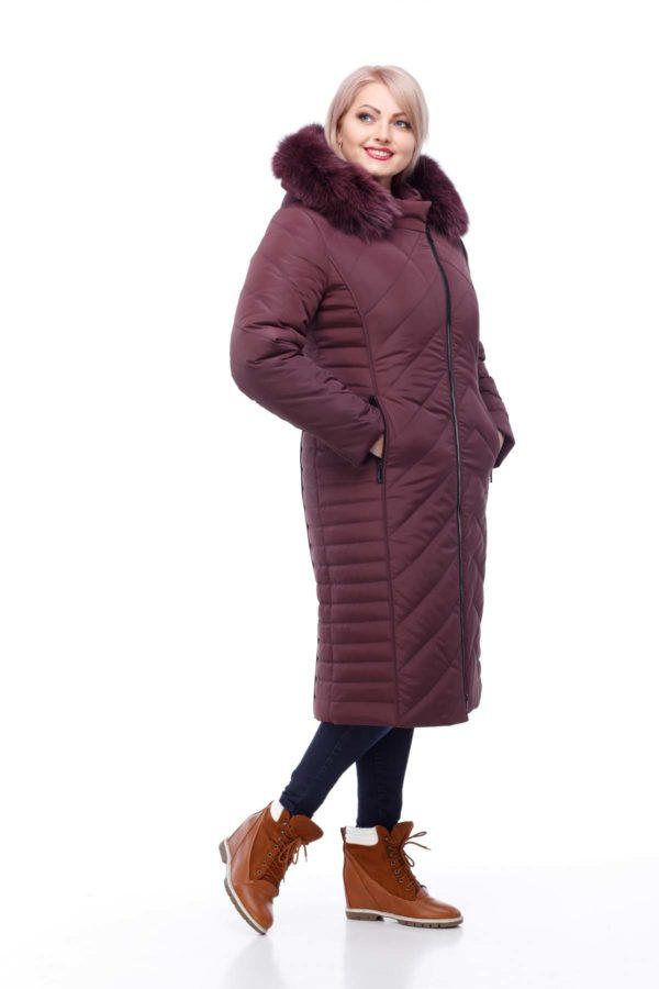 Зимнее пальто Мира песец Зима марсала