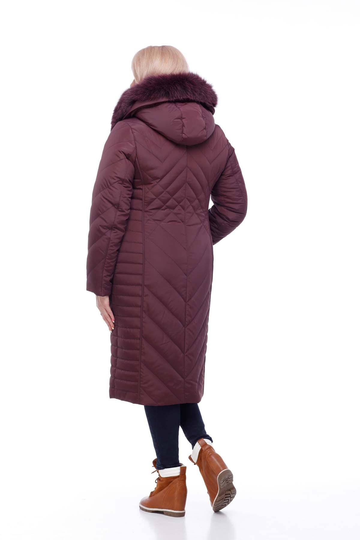 Зимове пальто Міра песець Зима марсала