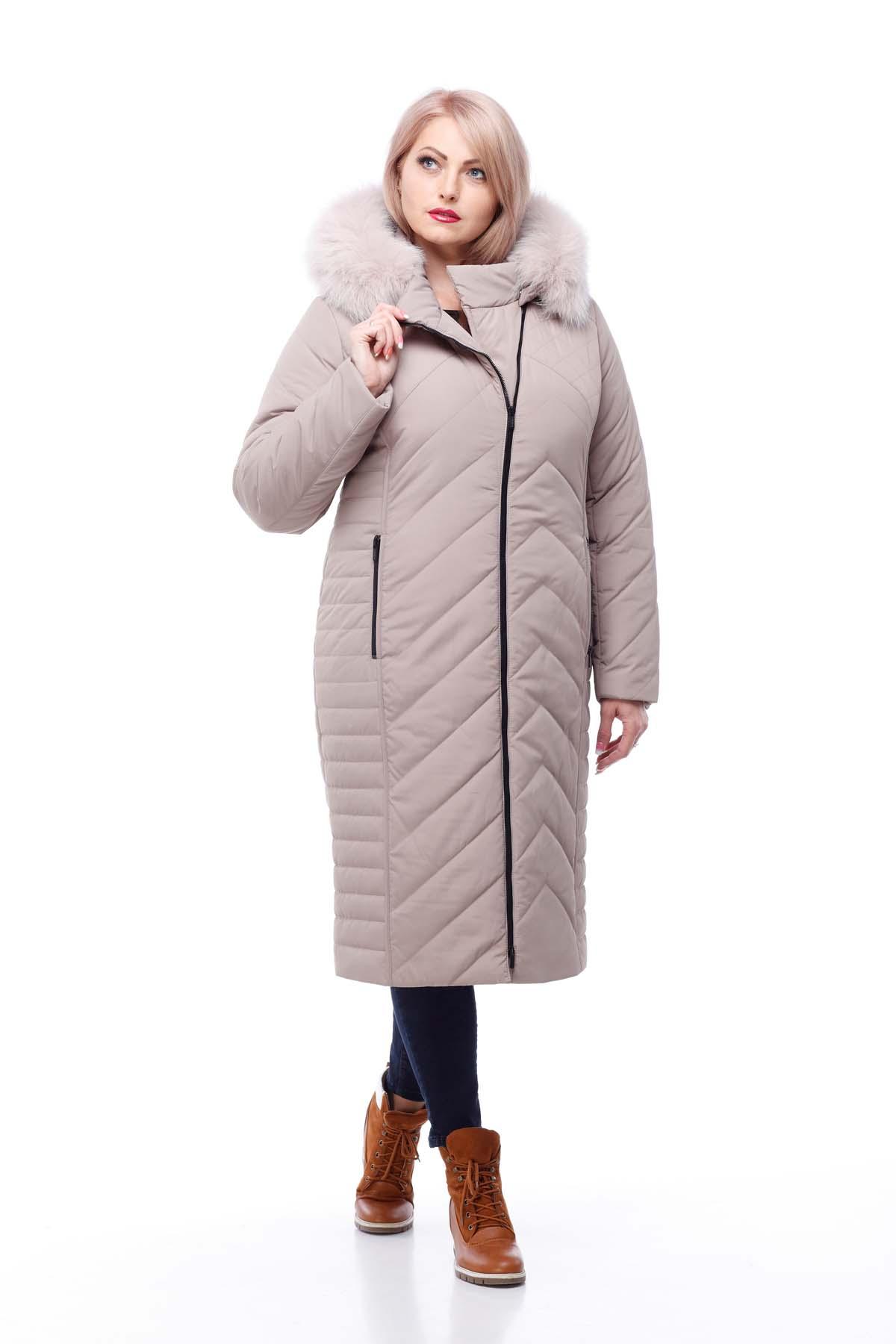 Зимове пальто Міра песець латте
