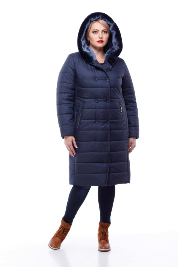 Зимнее пальто Ким кролик Зима темно-синий