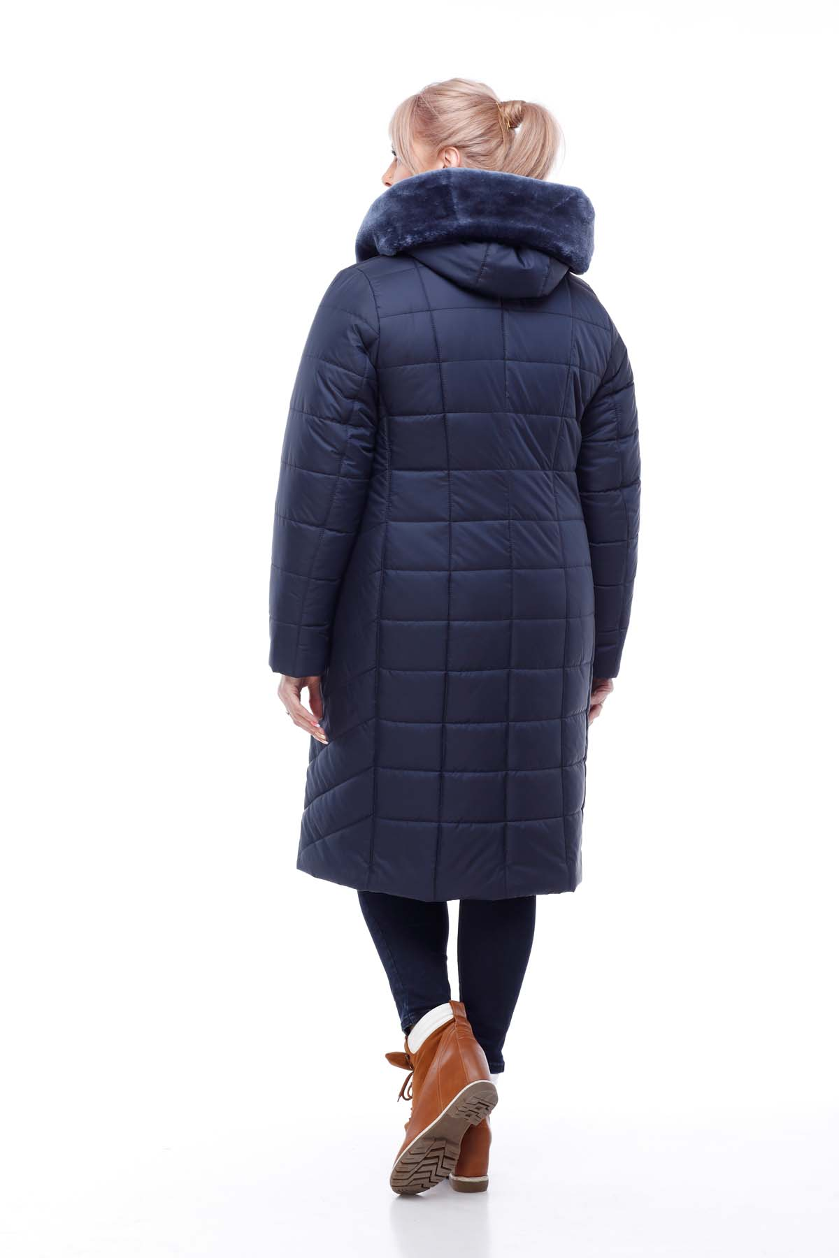 Зимове пальто стьогане Кім Зима, кролик темно-синій