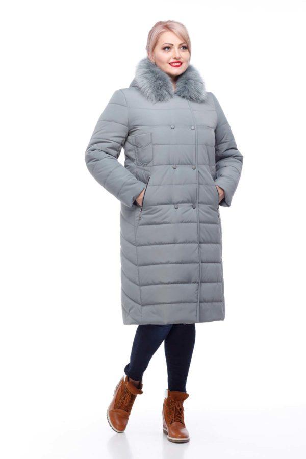 Зимове пальто стьогане Кім Зима, песець фісташки