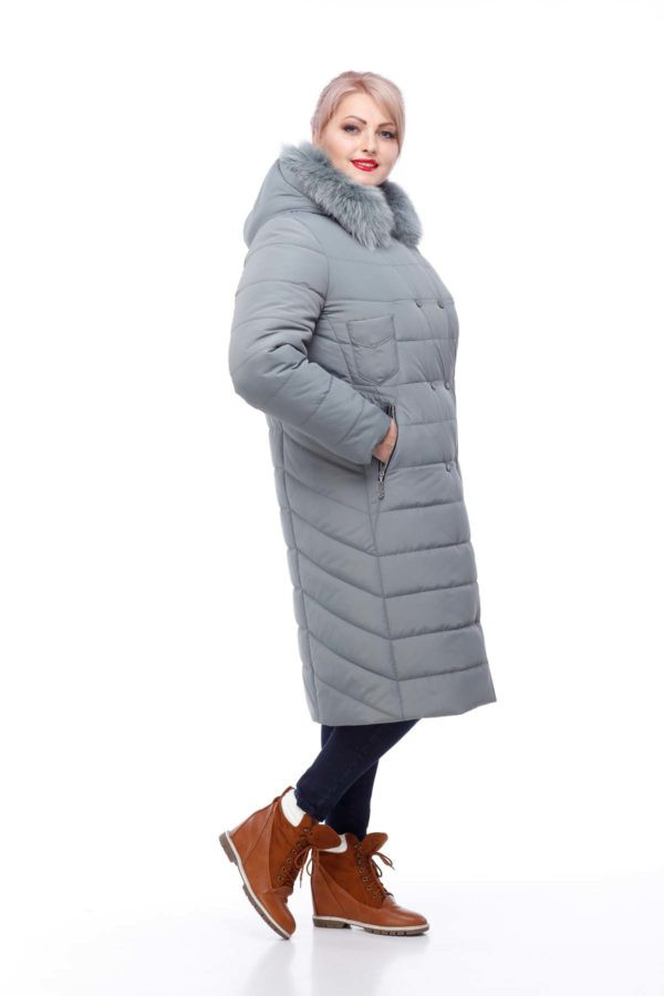 Зимнее пальто Ким Зима песец фисташки