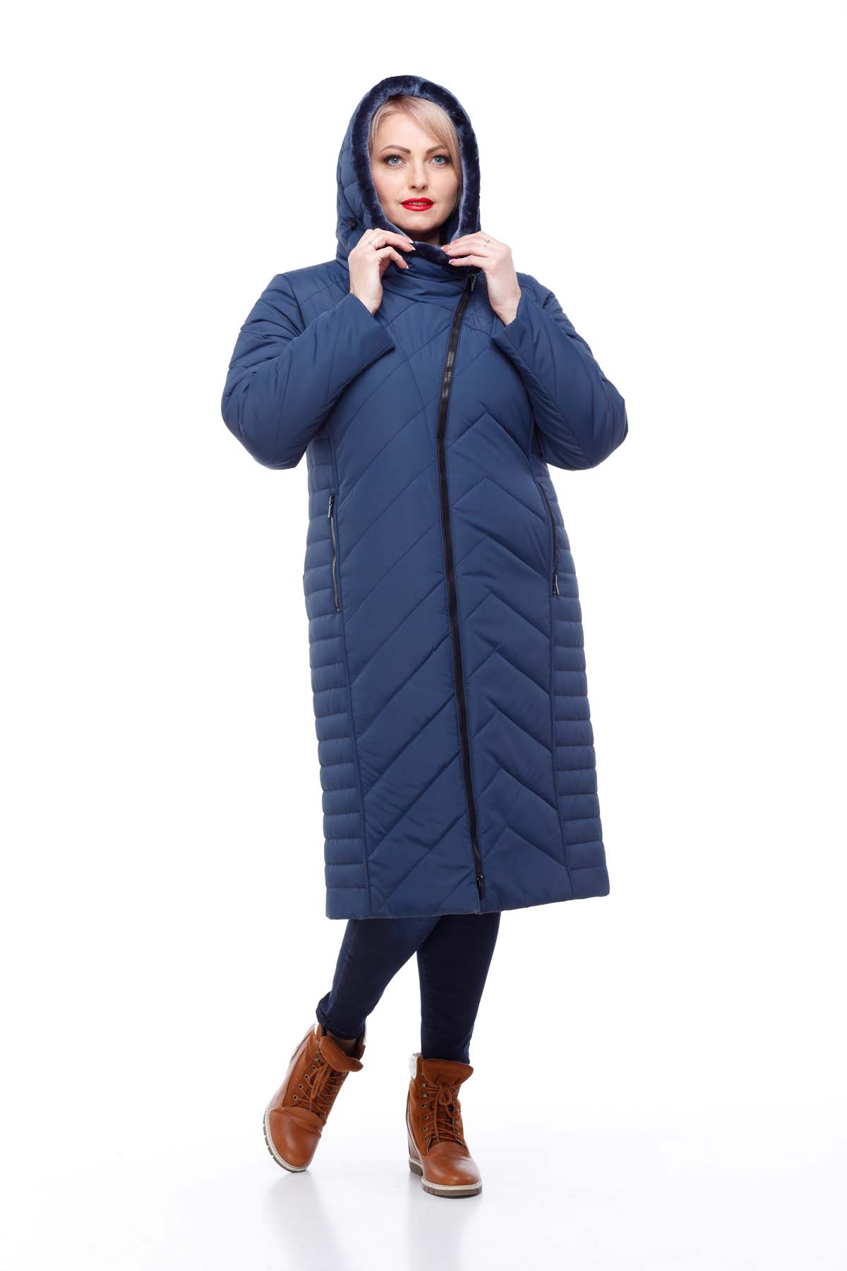 Зимове пальто стьогане Міра мутон Зима темно-синій