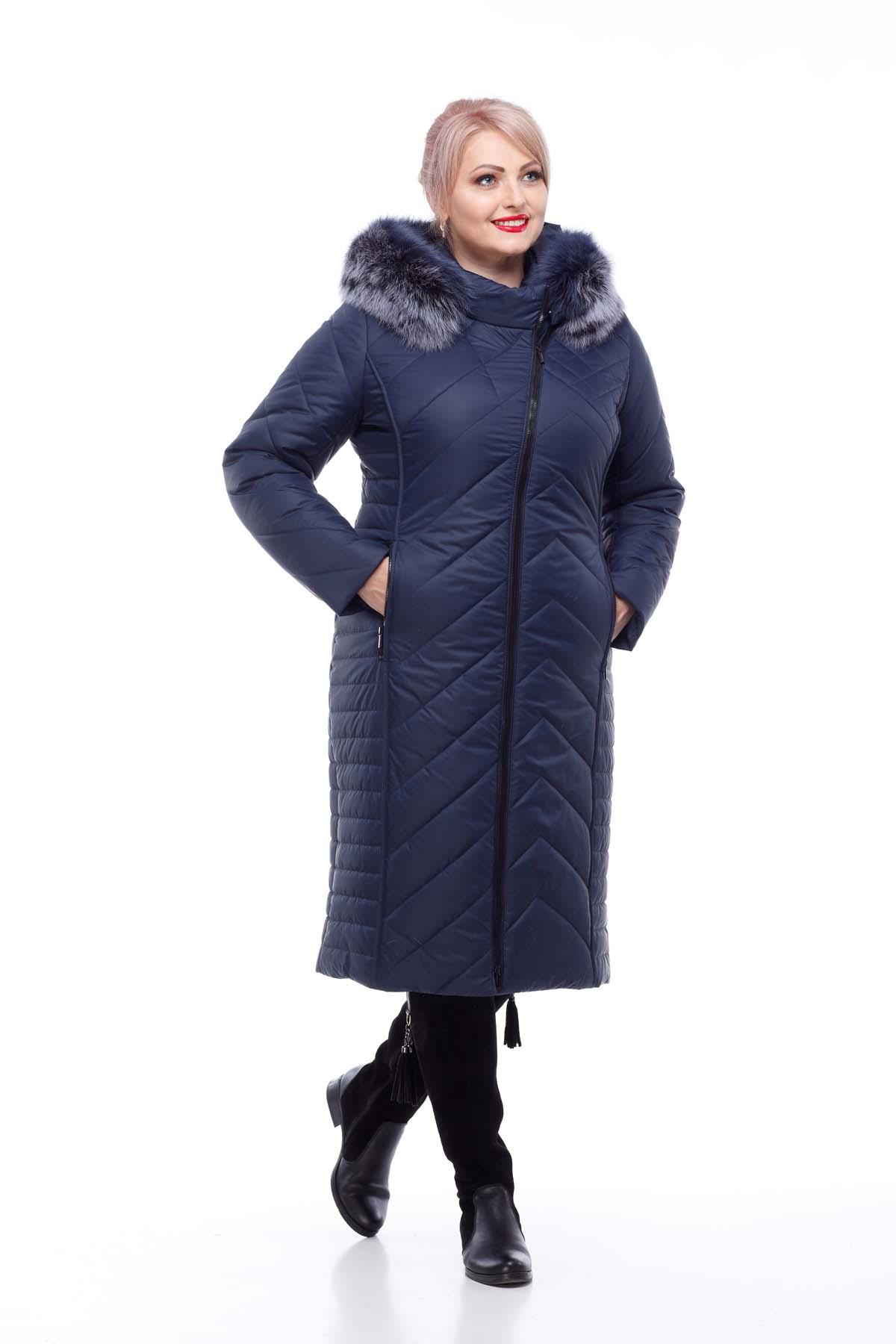 Зимове пальто Міра песець Зима темно-синій