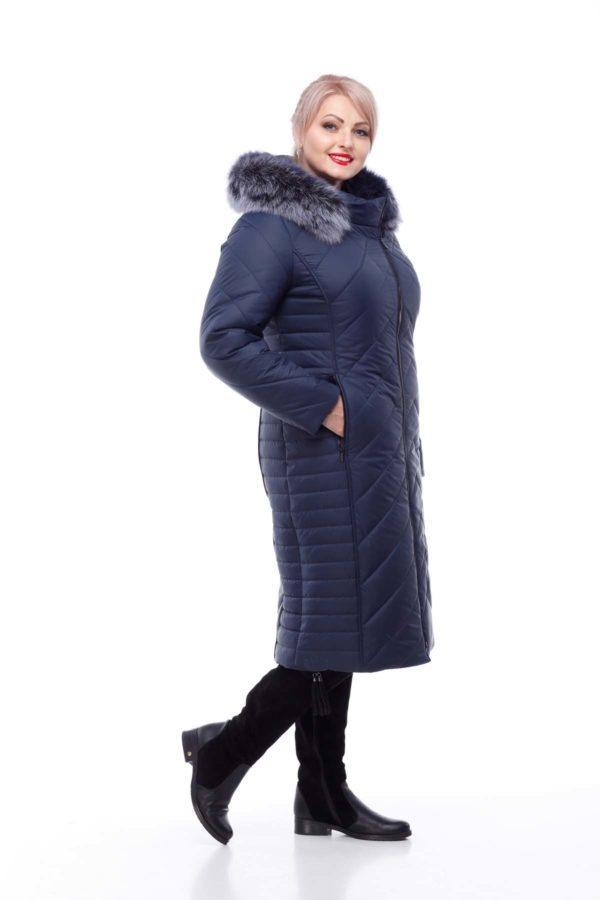 Зимнее пальто Мира песец Зима темно-синий матовый