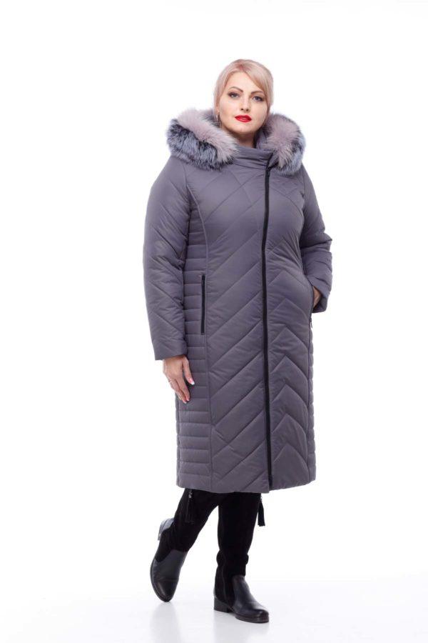 Зимнее пальто Мира песец Зима антрацит матовый