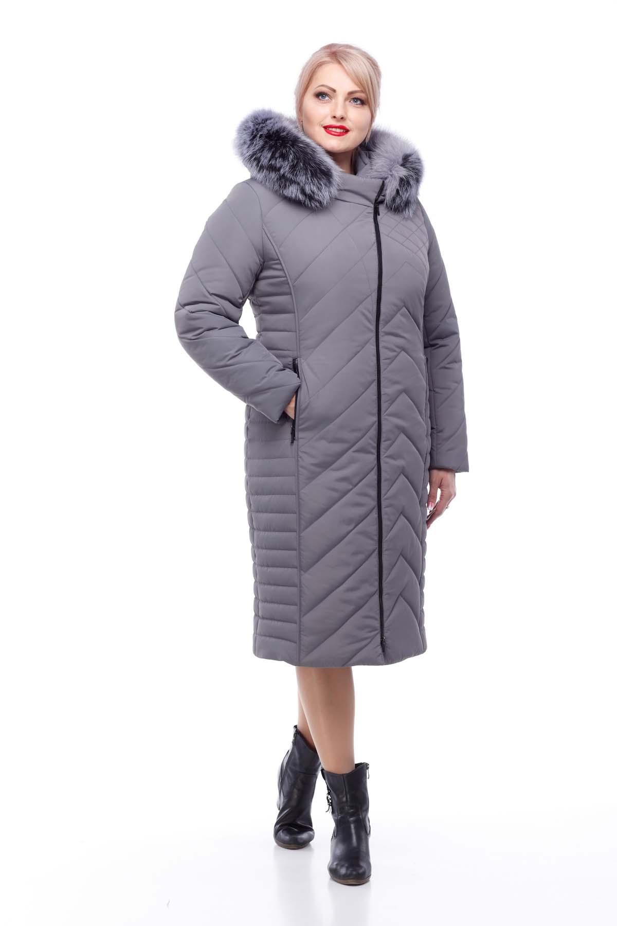 Зимове пальто Міра песець темно-сірий