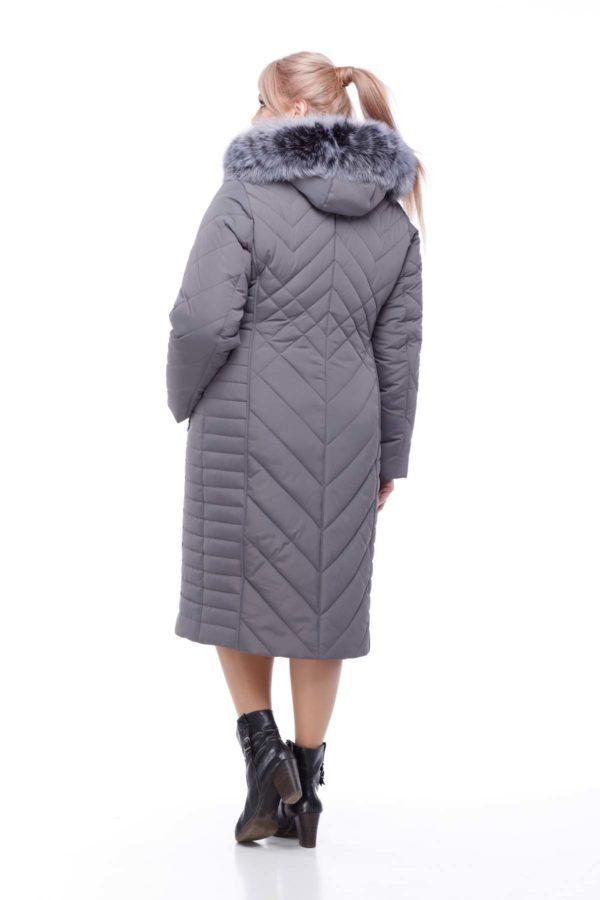 Зимнее пальто Мира песец Зима темно-серый