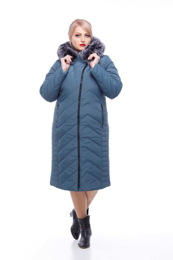 Зимнее пальто Мира песец Зима серо-синий