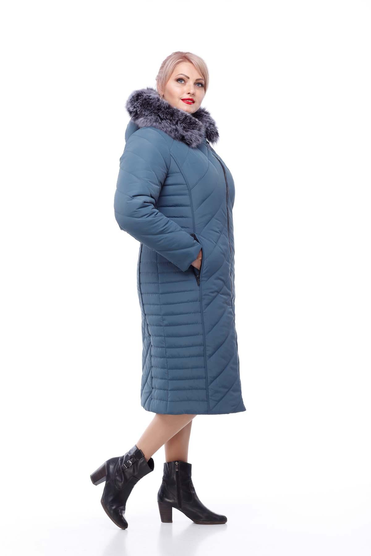 Зимове пальто Міра песець сіро-синій