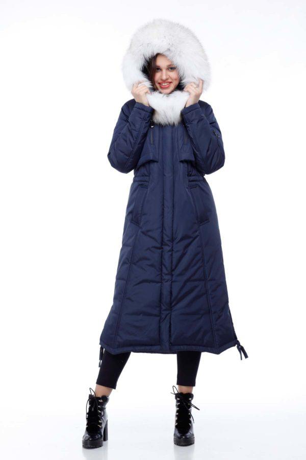 Зимнее пальто стеганое Кэнди, темно-синий лиса валик