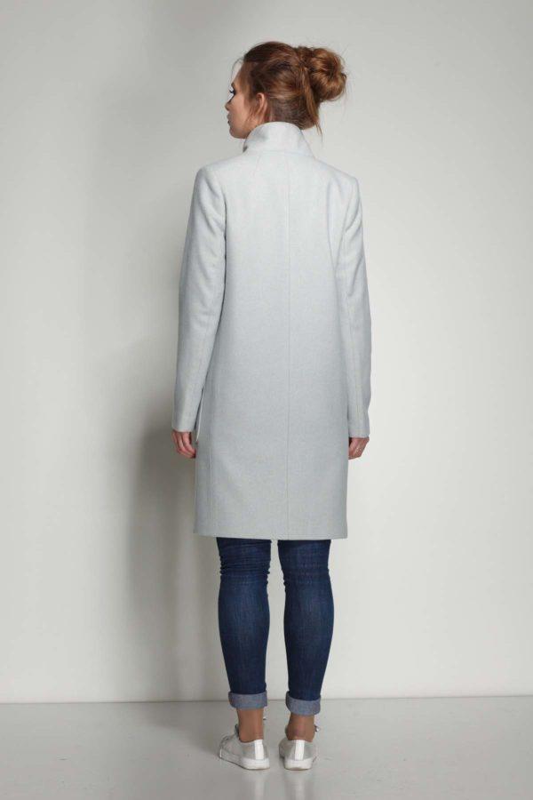 Пальто Виктория, шерсть Италия, серо-голубая елочка