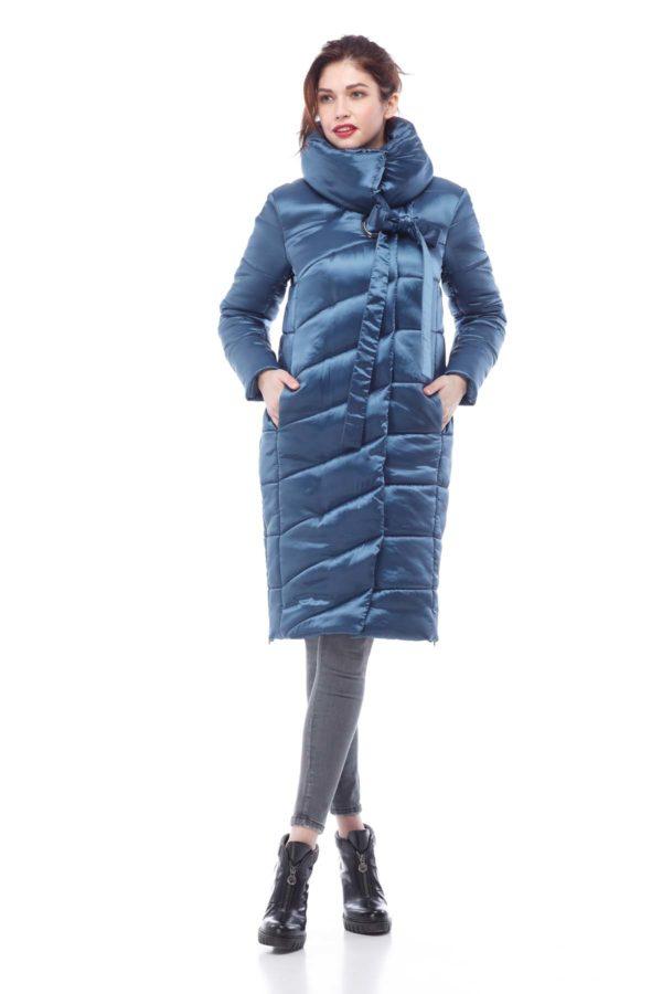 Зимнее пальто стеганое Вероника, ammy, изумруд+люверс