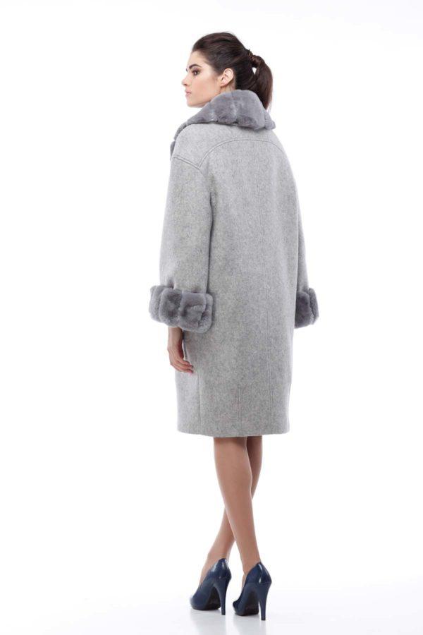 Зимнее пальто Монро с утеплителем светло-серый