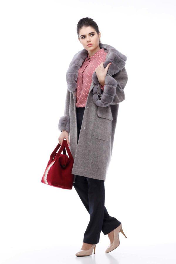 Зимнее пальто Монро серо-розовый