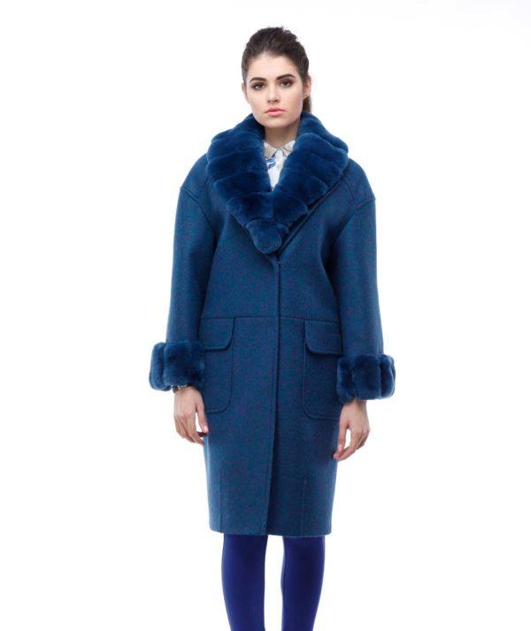 Зимнее пальто Монро с утеплителем изумруд