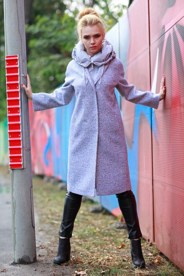 Зимнее пальто Манхэттен, шерсть светло-серый