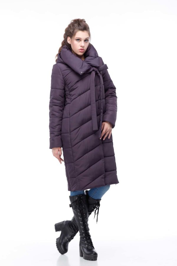 Зимнее пальто стеганое Вероника, ammy, амарантовый