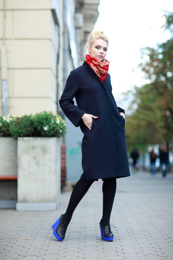 Зимнее пальто Манхэттен, шерсть темно-синий