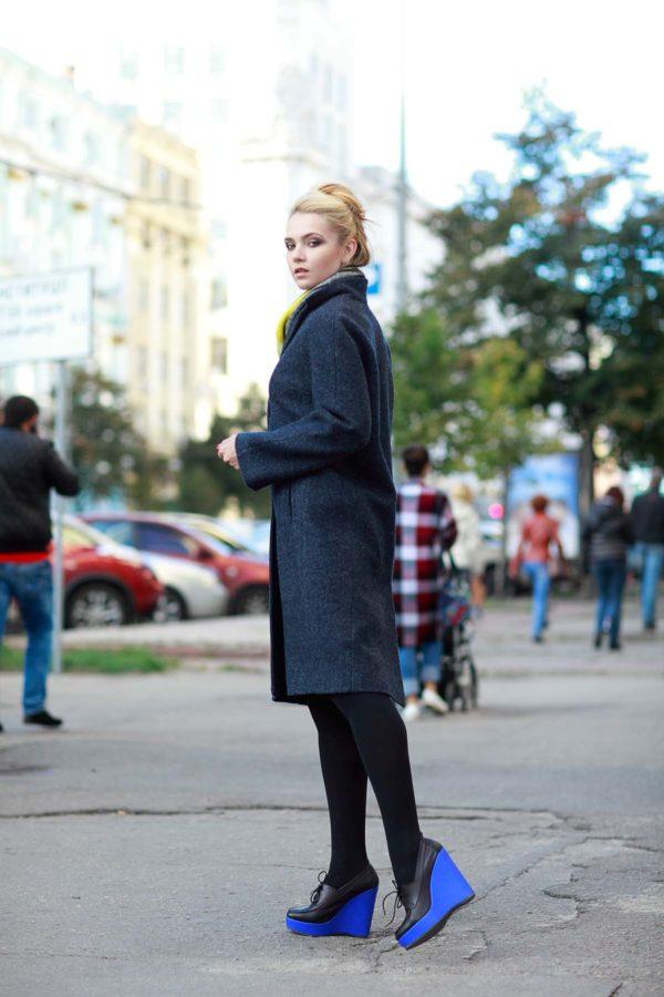 Зимнее пальто Манхэттен, шерсть серо-синий