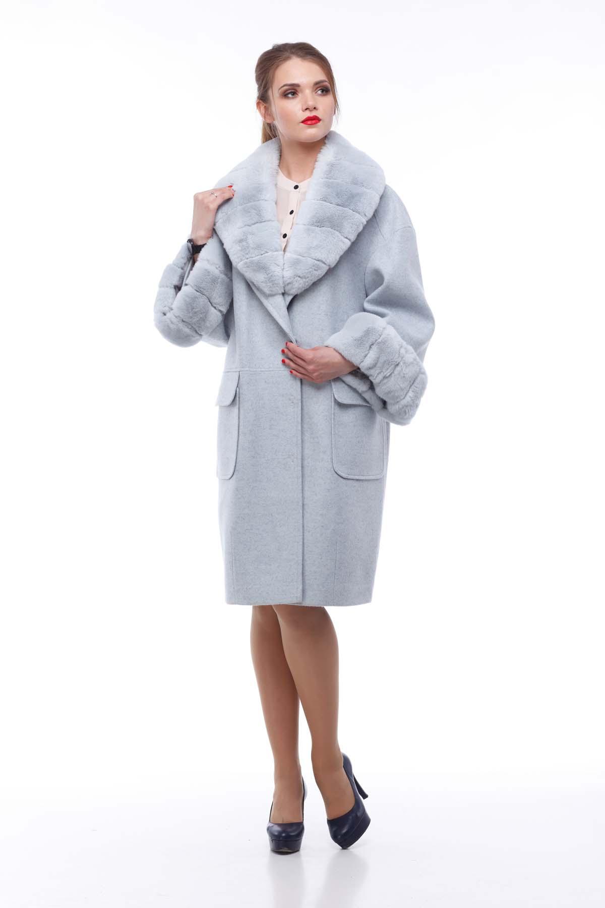 Зимове пальто Монро сіро-блакитний