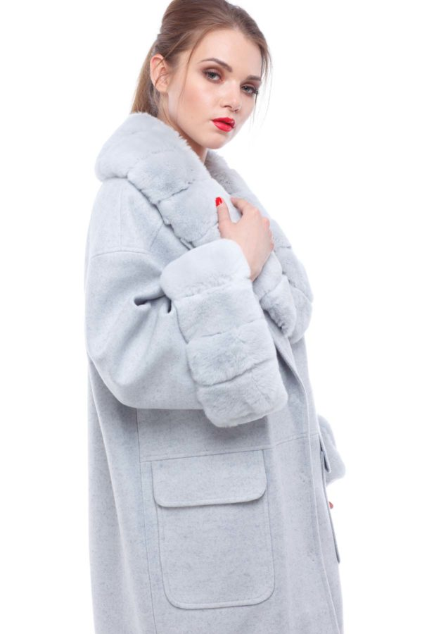 Зимнее пальто Монро серо-голубой