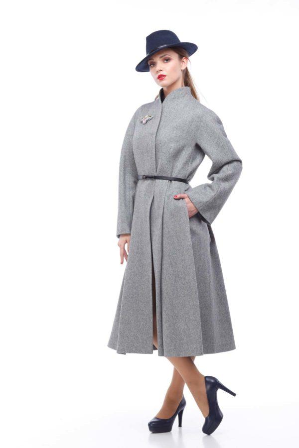 Пальто Камила,шерсть Италия, серый рубчик