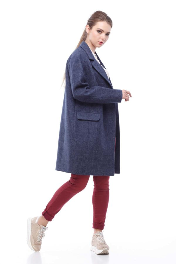 """Пальто Джолі, вовна """"nick"""" синій джинс"""