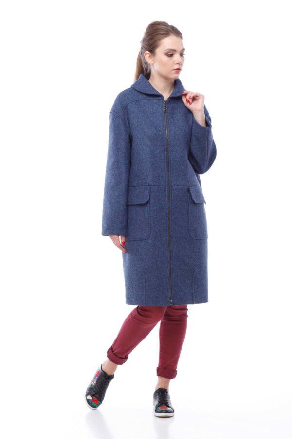Пальто Аллегра, шерсть Италия, синий джинс