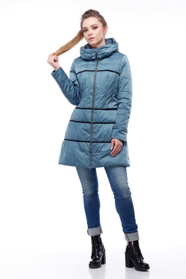 Пальто стеганое Василиса, атлас, зеленый
