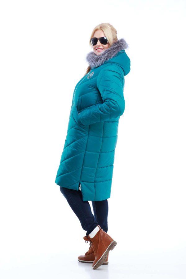 Зимове пальто стьогане Монтата фісташки бірюза