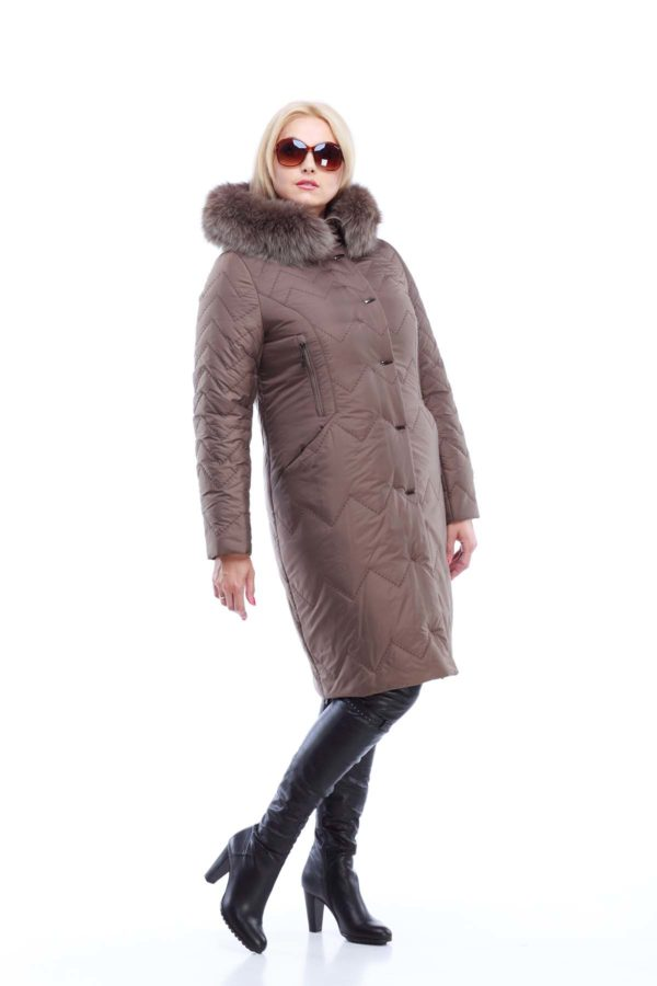 Пальто стеганое Верона, песец, бронза