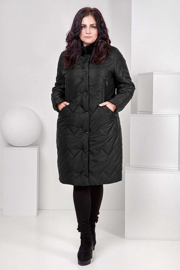Пальто стеганое Верона, мутон, черный
