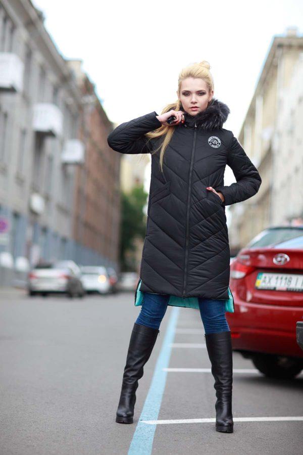 Зимнее пальто стеганое Монтана енот в цвет изделия черный мята