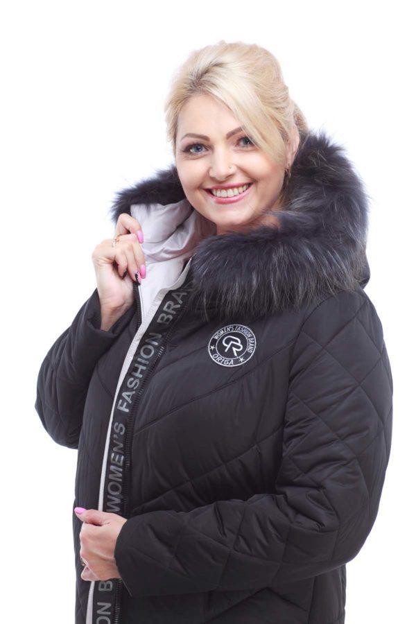 Зимнее пальто стеганое Монтана енот в цвет изделия черный пломбир
