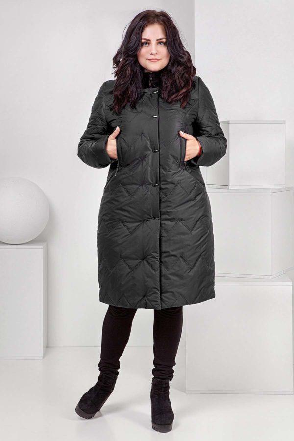 Зимове пальто стьогане Верона, мутон графіт