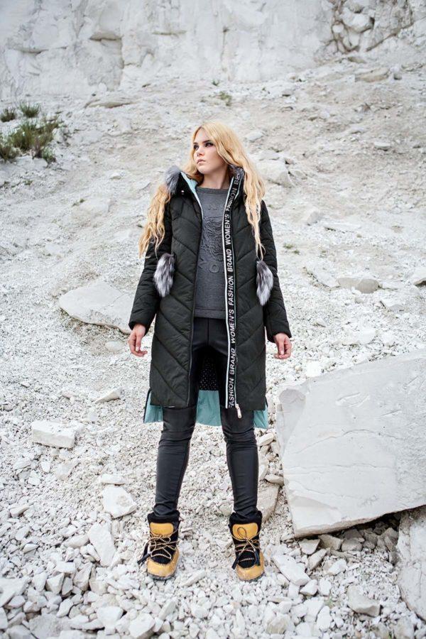 Зимнее пальто стеганое Монтана чернобурка графит мята