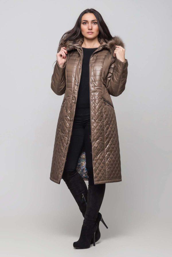 Зимнее пальто Софи Зима, песец-хвост грибной