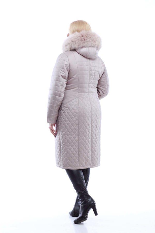 Зимнее пальто Софи Зима, песец-хвост латте