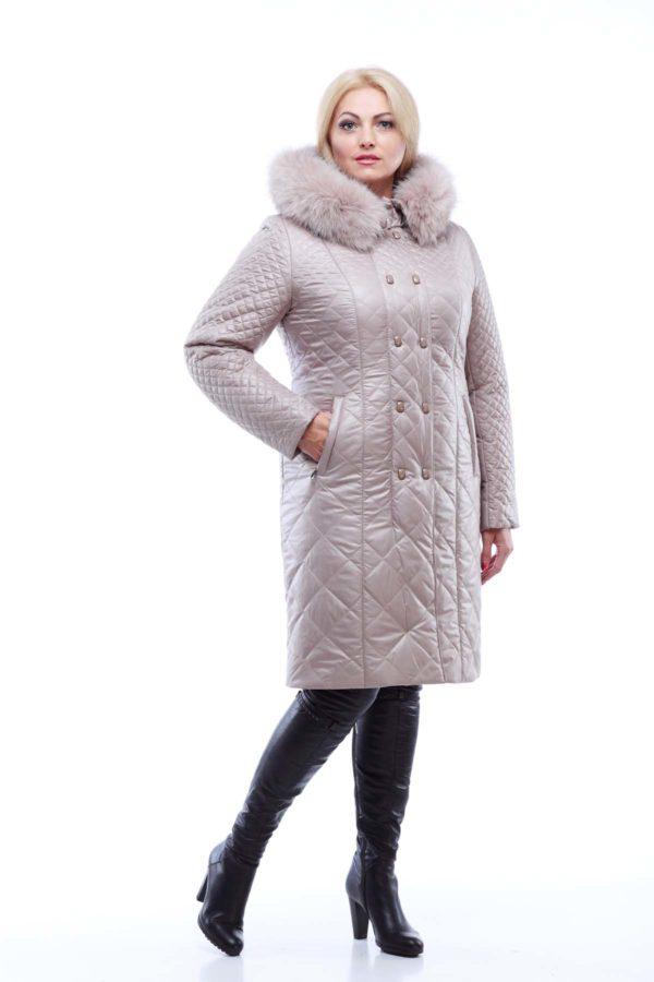 Пальто стеганое Верона, песец, латте