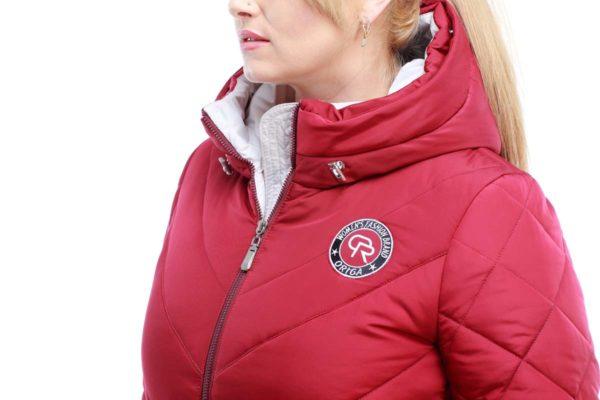 Зимнее пальто стеганое Монтана чернобурка марсала